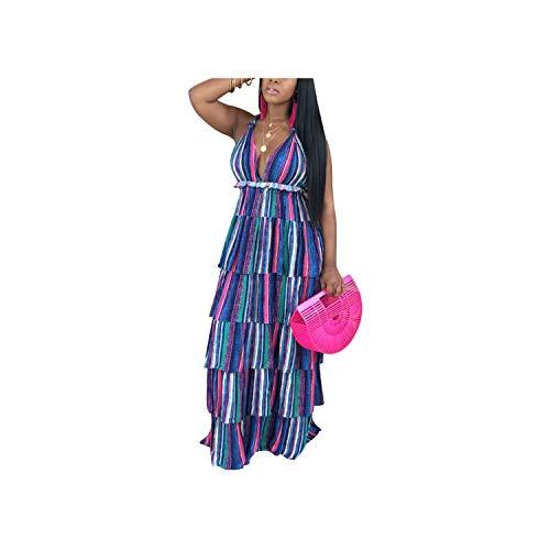 Sexy Style Women Backless Long Dress Print Halter Sleeveless High Split Long Dress Vestido,Blue,XL