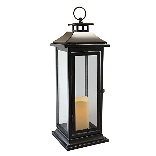 Lumabase 90401 Traditional Metal Lantern with LED Candle, Warm Black -