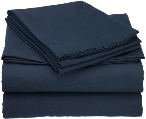 Clara Clark Premier 1800 Collection Attached Waterbed Sheet Set, with Pole Insert Pockets, Queen Size, Navy Blue -