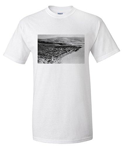 Dawson City, Alaska Town View from Air Photograph (White T-Shirt Medium)