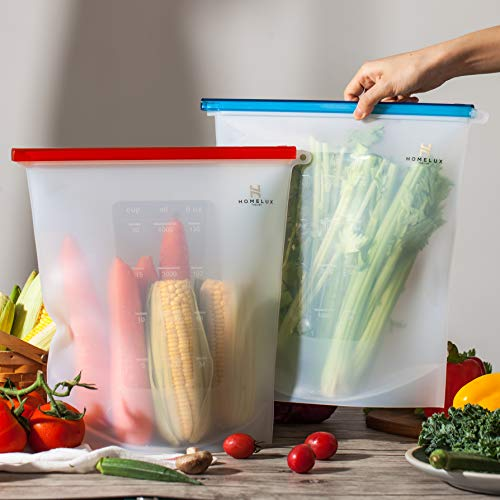 Homelux Theory Reusable Silicone Food Storage Bags | Sandwich, Sous Vide, Liquid, Snack, Lunch, Fruit, Freezer Airtight Seal | BEST for preserving and cooking | (2 Extra Large)