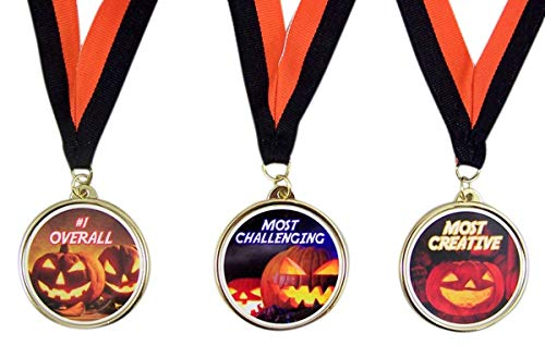 Halloween Party Contest Trophy Award Medals for Pumpkin Carving or Costume Contest, Set of 3