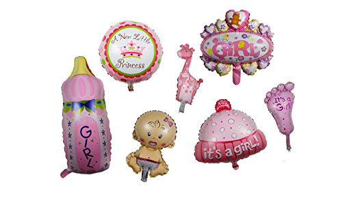 Newborn Princess Baby Girl Shower Kit Balloon - Set of 7 Foil Mylar Helium Cute Kid Foot Milk Bottle CupCake Round Crown Love Teddy Bear Giraffe Ballon Idea 4 Pink Party Invitation Photography Décor