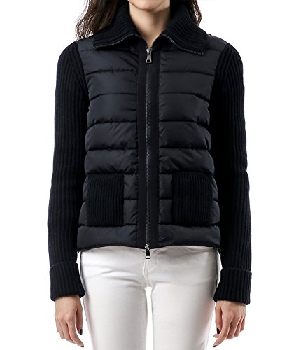 Wiberlux Moncler Women's Padded Front Panel Zip-Up Knit Jacket S - Moncler Women