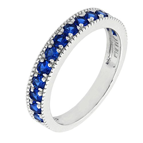 Sterling Silver Created White Blue Pink Sapphire Stackable Half Eternity Band Ring (6, blue-sapphire) Sapphire Half Eternity Band