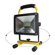 2400 lumens, 50 Watts, 36 LED. Heavy Duty LED Flood/Shop Light, Portable Rechargeable Cordless LED Work Light Flood Light, Durable Waterproof Emergency Light