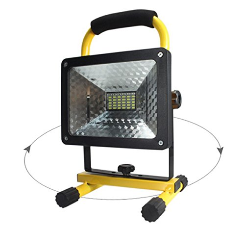 (Updated Version) 2400 lumens, 50 Watts, 36 LED. Heavy Duty LED Flood/Shop Light, Portable Rechargeable Cordless LED Work Light Flood Light Durable Emergency Light Newly Design Battery Cover Stronger!