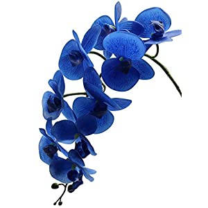"Ivalue Artificial Orchid Stems Blue Big Phalaenopsis Orchid Flower Real Touch Long Stems Orchid Plants 38"" Pack of 4 for Wedding Decoration (4, 38""-Blue) 114"