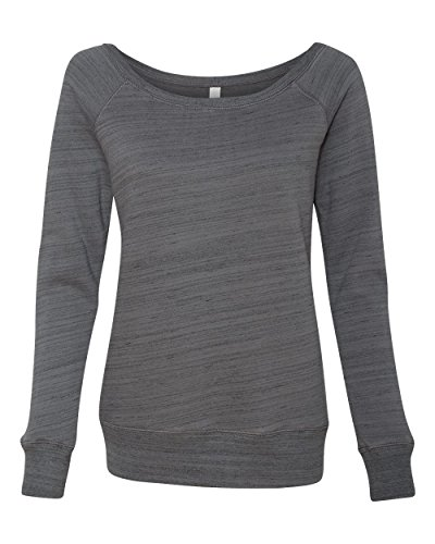 Bella 7501 Womens Sponge Fleece Wide Neck Sweatshirt - Dark Grey Marble Fleece, Large