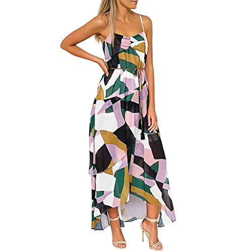 ZSBAYU Women's Dresses Summer Asymmetric Printed Layered Casual Long Skirt Geometric Pattern Belted Bandage Maxi Dress(Multicolor,XL)