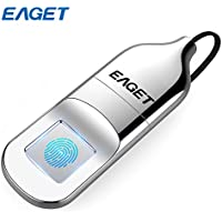 EAGET FU5 Fingerprint Encryption USB Flash Drive Fingerprint U Disk 32G / 64G Data Security Protection Identification Business Office Metal Silver (32G)
