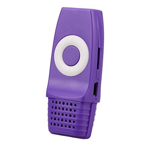 2017 Mini USB MP3 Music Media Player Support 16GB Micro SD TF Card (Purple) (Boombox Player Purple Cd)