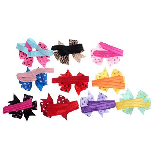 FAPIZI 10PC Babys Headband Hairband Elastic Wave Point Bowknot Photography