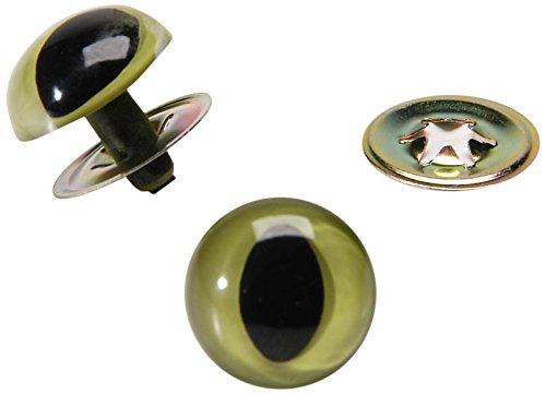 Darice Cat Eyes with Metal Washers - Green - 18mm - 2 Pieces