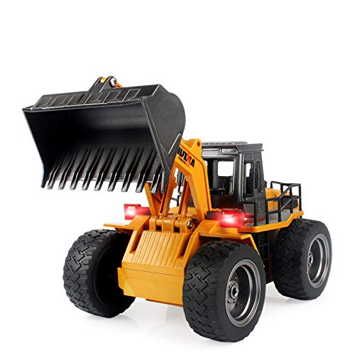 (TES TOYS Remote Control Excavator Construction Tractor, Boldozer Toy with 2.4Ghz Transmitter and Metal Shovel 1520 (1:18)