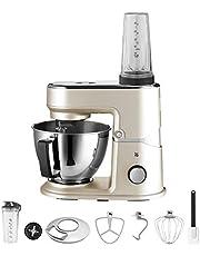 WMF Küchenminis Edition Mini-keukenmachine, ruimtebesparend, mixer voor smoothies, 3 l kom, softstart, planeetroerwerk, 8-traps kneedmachine, 3 roergereedschappen, 430 W, roestvrij staal, mat, beige