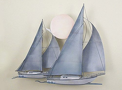WALL ART - MOONLIT SAILBOATS METAL WALL SCULPTURE - NAUTICAL (Boat Metal Sculpture)