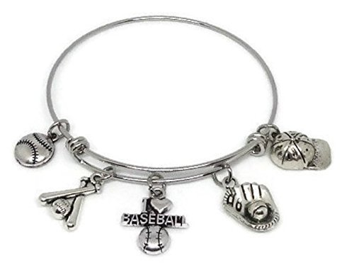 I Love Baseball Stainless Steel Charm Bracelet - Baseball Fan Gift - Baseball Mom Jewelry