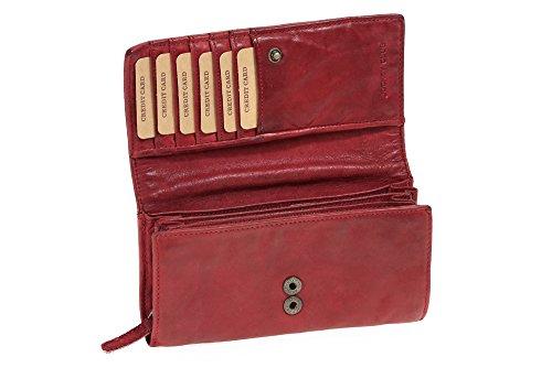 Grande Portafoglio Donna Borsa con rivetto WASHED-Optic LEAS, Vera Pelle, rosso/cherry/ciliegia - ''LEAS Vintage-Collection''