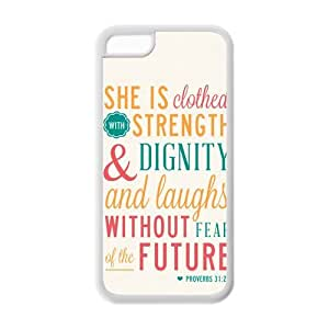 diycover iPhone 5C Case - Christian Theme - Bible Verse Proverbs 31:25 - Durable and lightweight Cover Case