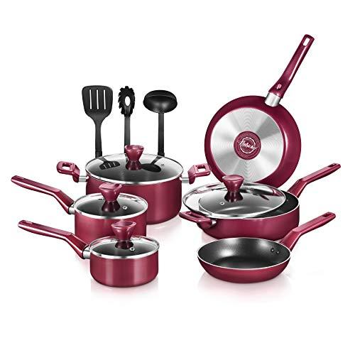 NutriChef 13 Pcs. Nonstick Kitchen Cookware PTFE/PFOA/PFOS-Free Heat Resistant Kitchenware Set w/Saucepan, Frying Pans…
