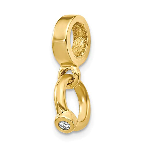 Ring Dangle Engagement Bead (Real 14kt Yellow Gold Reflections CZ Engagement Ring Dangle Bead)