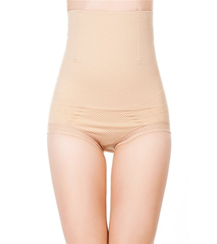 Pop Fashion Womens Shapewear Panties Bodysuit Body Shaper High Waist Tummy Control Seamless Strapless Slimming Panty Briefs (Medium/Large, Nude)