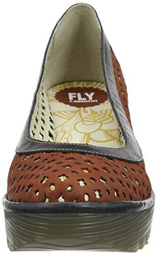 Fly London P500733005, Sandalias de Cuñas Mujer Rojo (Brick/Black 002)