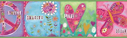 Chesapeake TOT46391B Lennon Green Imagine Peace Portrait Wallpaper Border