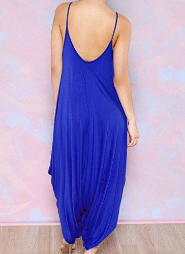 Moollyfox Mujer V Collar De Profundidad Elegante Tirantes Pantalones Cabestro Pieza Azul