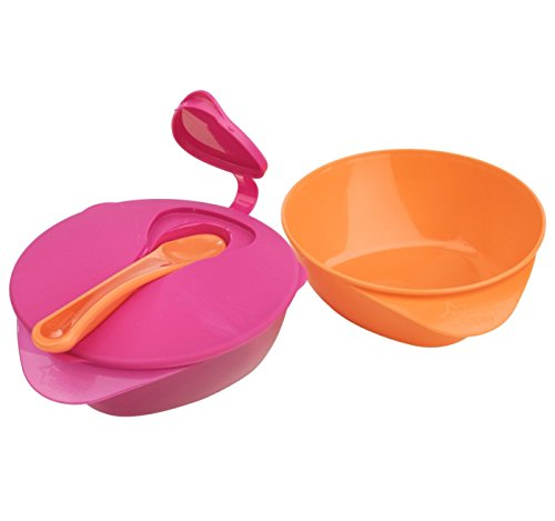Tommee Tippee Easy Scoop Feeding Bowls with Spoon, 2 Count (Orange/Pink)