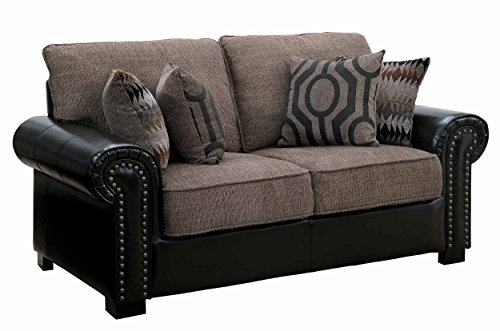 Homelegance Boykin Dual Fabric Faux Leather/Chenille Loveseat with Accent Pillows, Brown
