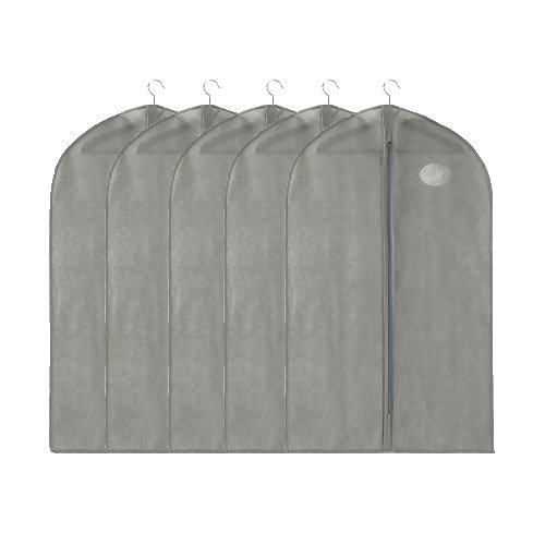 """UPC 603097317084, UQueen UQ6004 5 pcs Thicken 50 """" Simple Pure Color Non-woven Dustproof Moistureproof Mildewproof Wardrobe Clothes Storage Garment Bags Cover for Suits with Visual Window (Medium Size, Gray)"""