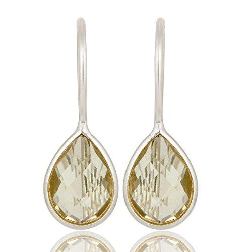 Lemon Topaz Gemstone 925 Sterling Silver Drop Earrings for Women Jewelry (Lemon Earrings Topaz)
