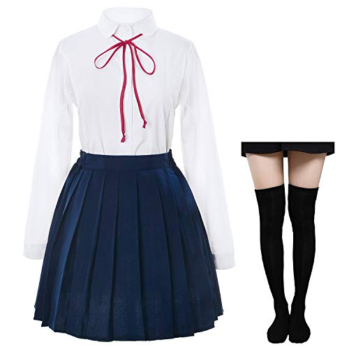 Japanese School Girls Sailer Dress Shirts Uniform Anime Cosplay Costumes with Socks Set(SSF12) S(Asia M)