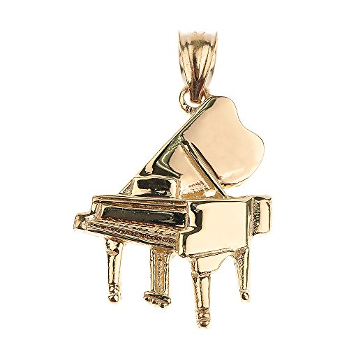 Solid 14k Yellow Gold Music Charm Grand Piano Pendant