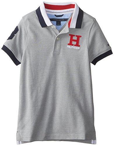 Tommy Hilfiger Little Boys' Short Sleeve Matt Polo Trim Fit, TH Grey Heather, 6/Regular