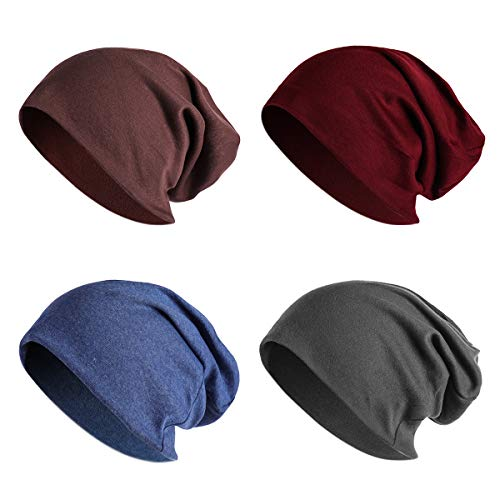 JOYEBUY 4 Pack Women Men Stylish Cotton Beanie Cap Slouchy Beanies Hats Soft Sleep Cap (Style -