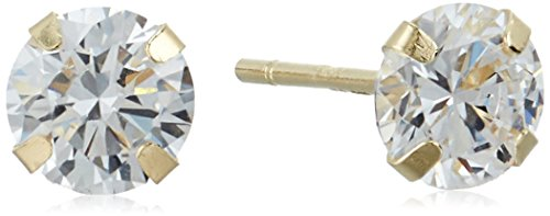 4mm Round Cubic Zirconia 10k Yellow Gold Stud Earrings