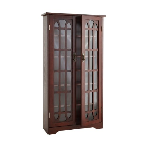 SEI Window Pane Media Cabinet - CD & DVD Holder w/Adjustable Shelves - Cherry Finish
