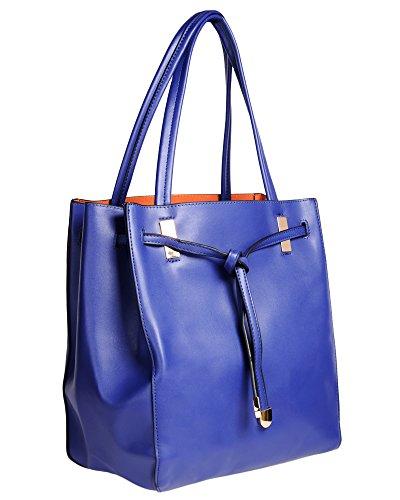 be78a6f16c15f ImiLoa Shopper Tasche Schultertasche blau gold Handtasche Umhängetasche  Abendtasche Freizeittasche Partytasche edel klassisch Damen