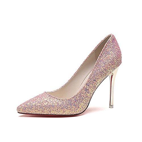 Wanson Mariage De Talons 10Cm Femmes Mode Escarpins PU Rose Talons Pointy Haut L De Sexy Mariée De Chaussures rrfwR