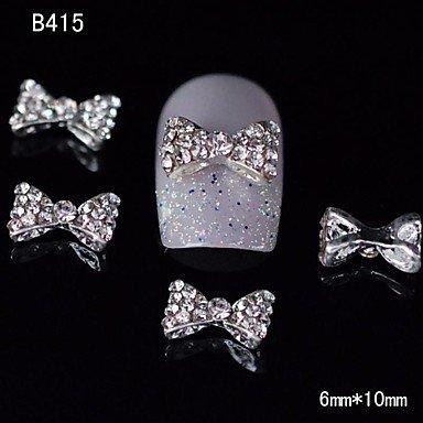 MAXFACT 10pcs Rhinestone Bow Corbata 3D de aleación diseño de uñas ...