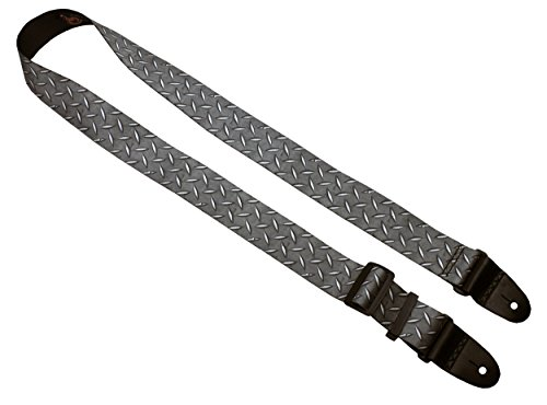 Killer-Q Guitar Strap - Stylish Straps for Electric and Acoustic Guitars, Made in USA - 2 Inches x 5 Feet, Diamond Plate