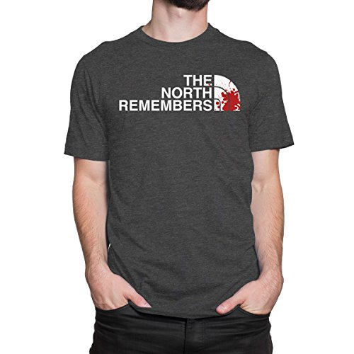 THE NORTH REMEMBERS Men's PRINT HAUS T-shirt (MEDIUM, HEATHER CHARCOAL)