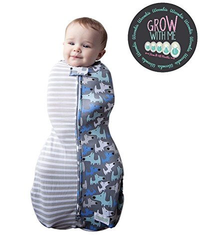 Woombie Grow with Me Baby Swaddle - Convertible Swaddle Fits Babies 0-9 Months - Expands to Wearable Blanket for Babies up to 18 Months - Boy Styles (Doggies & Stripes) by Woombie