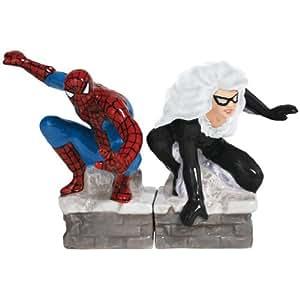 Westland Giftware Magnetic Ceramic Salt and Pepper Shaker Set, 3.25-Inch, Marvel Comics Spider-Man and Black Cat, Set of 2