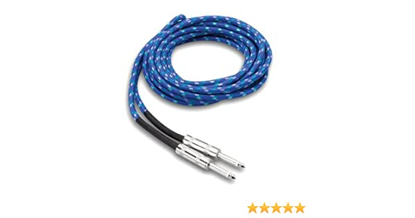 18 Feet Hosa 3GT-18C2 Guitar Cable Blue//Green//White Cloth Jacket