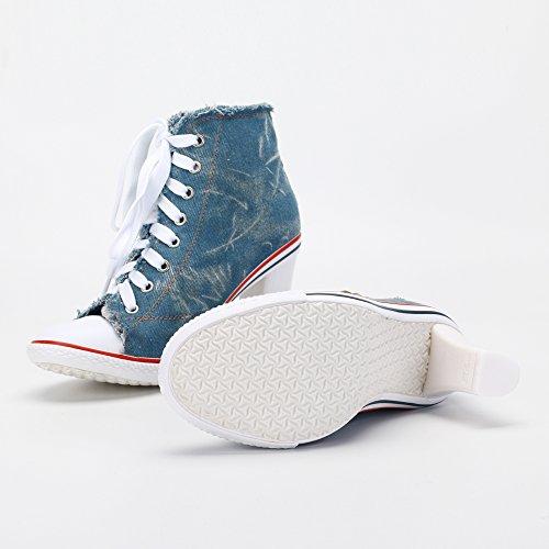 azul tacón de deporte lona la alto las de de grueso de zapatillas Remache con cordones de moda botines mujeres z18q8Tx