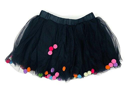 Rush Dance Ballerina Girls Dress-up Pom Pom Puff Balls Costume Recital Tutu (L (5-8 Years Old), -